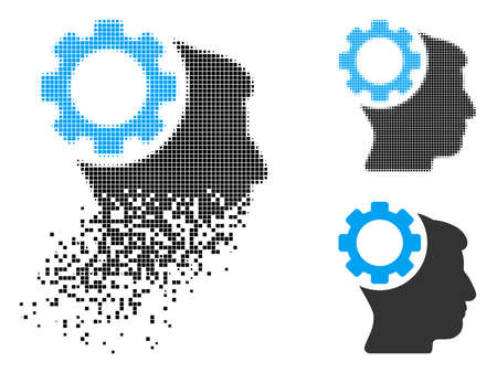 Brain gear icon in dispersed, dotted halftone and entire versions. Points are combined into vector dispersed brain gear icon. Disintegration effect involves rectangle scintillas. Stockfoto - 110041888