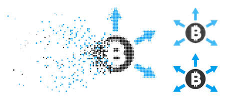 Bitcoin emission icon in fractured, dotted halftone and solid variants. Particles are organized into vector dissipated Bitcoin emission pictogram. Disappearing effect uses rectangle dots.