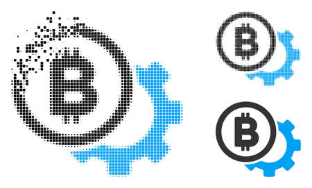 Bitcoin options cog icon in fragmented, pixelated halftone and solid versions. Pieces are composed into vector disappearing Bitcoin options cog form. Disappearing effect uses rectangular particles.