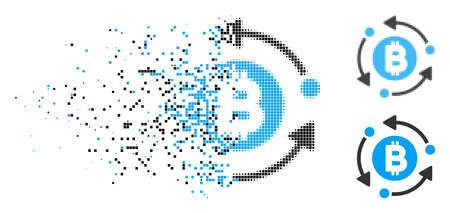 Bitcoin rotation arrows icon in fractured, pixelated halftone and entire versions. Pixels are composed into vector dispersed Bitcoin rotation arrows icon. 版權商用圖片 - 110041922