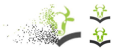 Cow handbook icon in fragmented, pixelated halftone and original versions. Cells are combined into vector disappearing cow handbook icon. Disappearing effect involves rectangle particles.