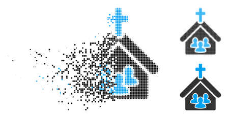 Church people icon in dissolved, pixelated halftone and undamaged variants. Particles are combined into vector dissipated church people icon. Disintegration effect involves rectangle particles.