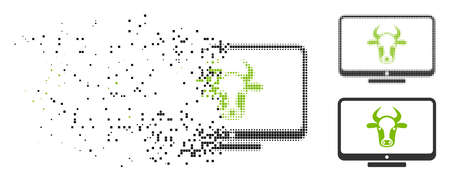 Cattle monitor icon in fractured, pixelated halftone and original versions. Elements are arranged into vector disappearing cattle monitor icon. Disappearing effect uses square dots. Reklamní fotografie - 108148595