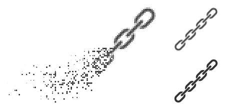 Chain icon in dissolved, dotted halftone and solid variants. Fragments are arranged into vector disappearing chain icon. Disappearing effect uses rectangle scintillas. Reklamní fotografie - 108148637