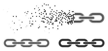 Chain icon in dispersed, pixelated halftone and entire variants. Cells are organized into vector dispersed chain figure. Disintegration effect involves square dots.