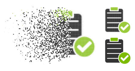 Approve list icon in fractured, pixelated halftone and undamaged versions. Particles are organized into vector disappearing approve list form. Disappearing effect uses rectangle particles.
