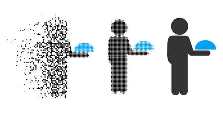 Child waiter icon in dispersed, pixelated halftone and solid versions. Pieces are composed into vector disappearing child waiter form. Disappearing effect involves rectangle particles.