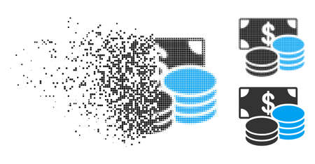 Dollar cash icon in dissolved, dotted halftone and solid variants. Pixels are arranged into vector disappearing dollar cash figure. Disappearing effect uses square dots. Ilustrace