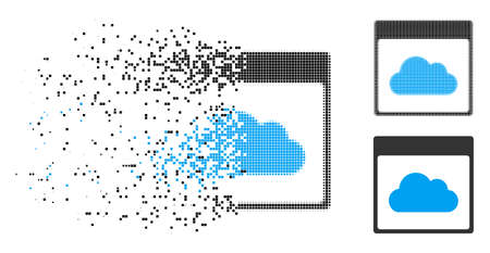 Cloud calendar page icon in dissolved, pixelated halftone and whole versions. Particles are composed into vector disappearing cloud calendar page pictogram. Disappearing effect uses square particles.