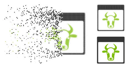 Cow page icon in dissolved, pixelated halftone and original versions. Particles are composed into vector disappearing cow page symbol. Disappearing effect uses rectangle particles.