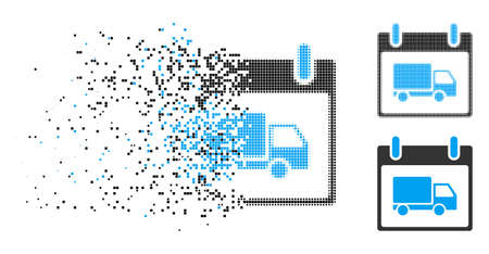 Delivery car calendar day icon in fractured, dotted halftone and undamaged versions. Cells are grouped into vector disappearing delivery car calendar day pictogram. Illustration
