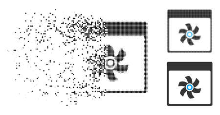 Fan calendar page icon in dissolved, pixelated halftone and entire variants. Fragments are organized into vector disappearing fan calendar page icon. Disappearing effect involves rectangle particles.