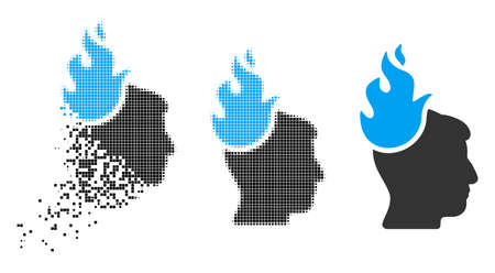 Fired head icon in dispersed, dotted halftone and original versions. Particles are grouped into vector disappearing fired head icon. Disappearing effect uses square particles.