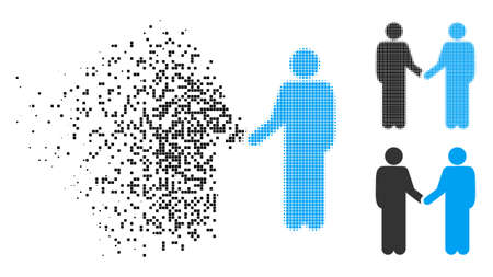 Friends handshake icon in fragmented, pixelated halftone and entire versions. Particles are combined into vector disappearing friends handshake pictogram. Disappearing effect uses rectangular dots. Ilustrace