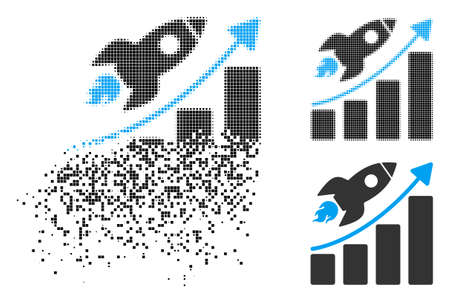 Rocket startup chart icon in dissolved, pixelated halftone and entire variants. Cells are organized into vector dispersed rocket startup chart form. Disintegration effect involves square particles. 일러스트