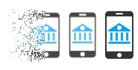 Mobile bank icon in fragmented, dotted halftone and original versions. Particles are grouped into vector disappearing mobile bank icon. Disappearing effect uses rectangular particles.