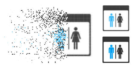 Toilet persons calendar page icon in dispersed, pixelated halftone and solid variants. Cells are combined into vector dispersed toilet persons calendar page icon. 向量圖像