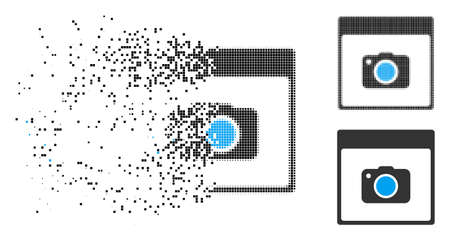 Photo camera calendar page icon in fragmented, pixelated halftone and whole versions. Particles are combined into vector disappearing photo camera calendar page icon.
