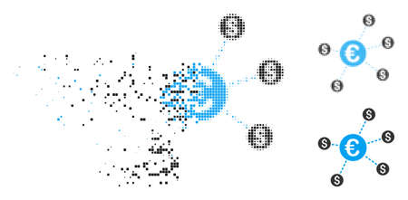 Currency network nodes icon in fractured, dotted halftone and entire versions. Pieces are organized into vector disappearing currency network nodes icon. Disappearing effect uses rectangle particles. Illustration