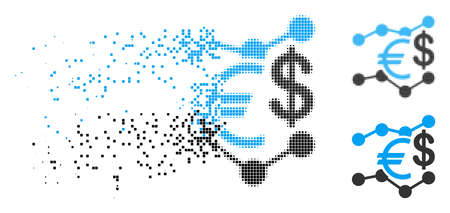 Currency trends icon in fragmented, dotted halftone and undamaged versions.