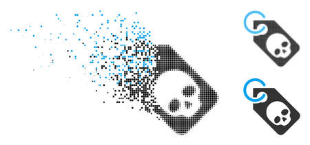Death skull tag icon in dispersed, pixelated halftone and solid versions. Particles are grouped into vector disappearing death skull tag form. Disappearing effect uses square scintillas. Illustration