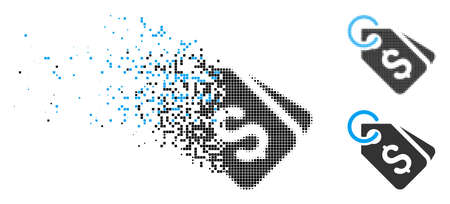 Dollar price tags icon in fragmented, dotted halftone and solid variants. Points are grouped into vector disappearing dollar price tags symbol. Disappearing effect involves rectangle scintillas.