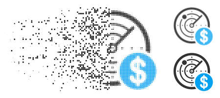 Dollar radar icon in fragmented, pixelated halftone and undamaged variants. Elements are combined into vector disappearing dollar radar icon. Disappearing effect uses rectangular dots.