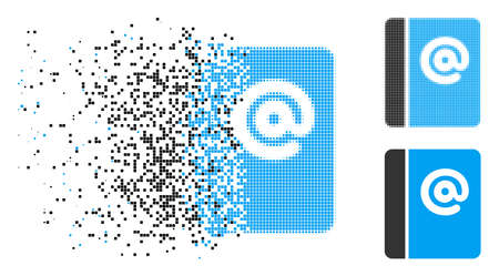 Emails icon in fragmented, dotted halftone and whole variants. Elements are composed into vector disappearing emails figure. Disappearing effect involves square particles.