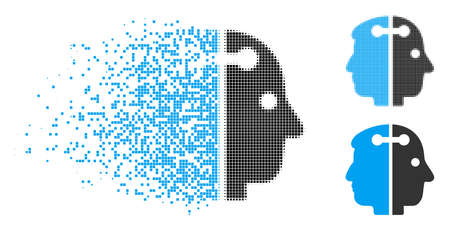 Dual head connection icon in fractured, dotted halftone and undamaged versions. Particles are combined into vector dissolving dual head connection icon. Disappearing effect uses square particles.