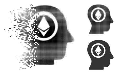 Ethereum mind head icon in fragmented, dotted halftone and entire versions.