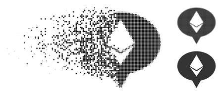 Ethereum banner balloon icon in dissolved, pixelated halftone and entire variants. Particles are arranged into vector dispersed Ethereum banner balloon icon. Vector Illustratie
