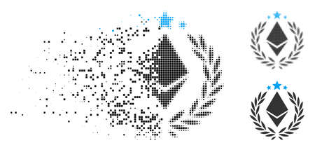 Ethereum laurel wreath icon in fragmented, pixelated halftone and entire versions. Pixels are composed into vector dissolving Ethereum laurel wreath icon. Disappearing effect uses square dots. Stock Illustratie