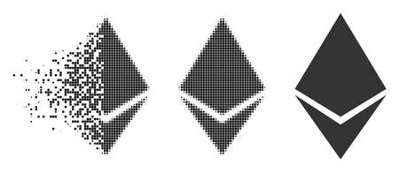 Ethereum crystal icon in fractured, pixelated halftone and entire variants. Cells are arranged into vector disappearing Ethereum crystal icon. Disintegration effect involves rectangle scintillas.