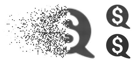 Financial message balloon icon in dissolved, dotted halftone and entire variants. Pieces are grouped into vector disappearing financial message balloon icon.