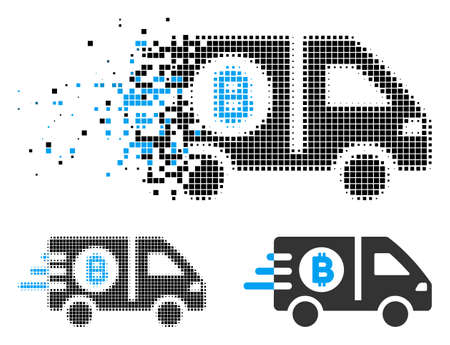 Fast Bitcoin delivery car icon in dispersed, pixelated halftone and whole versions. Points are composed into vector dissolving fast Bitcoin delivery car icon.