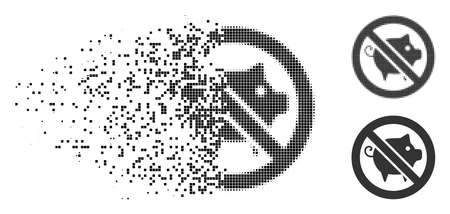 Forbidden pig icon in fragmented, pixelated halftone and undamaged variants. Cells are arranged into vector dispersed forbidden pig icon. Disintegration effect involves rectangle scintillas. Illustration