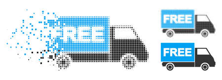 Free shipment van icon in fractured, dotted halftone and entire versions. Pieces are arranged into vector disappearing free shipment van icon. Disappearing effect uses rectangular scintillas. Ilustrace