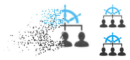 Management steering wheel icon in dissolved, pixelated halftone and undamaged variants. Elements are composed into vector dispersed management steering wheel icon.