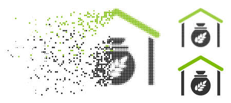 Grain storage icon in fragmented, dotted halftone and undamaged variants. Elements are composed into vector disappearing grain storage icon. Disappearing effect uses rectangle scintillas.