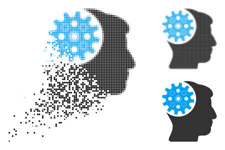 Head gear icon in fractured, pixelated halftone and original versions. Elements are combined into vector disappearing head gear icon. Disappearing effect involves rectangular particles.