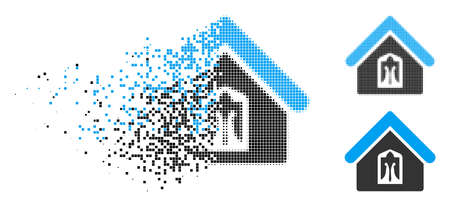 Home icon in fractured, pixelated halftone and solid variants. Fragments are organized into vector dissolving home form. Disintegration effect involves rectangle scintillas.
