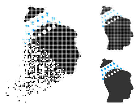 Head shower icon in dispersed, pixelated halftone and undamaged versions. Points are organized into vector disappearing head shower pictogram. Disappearing effect uses rectangular particles. Ilustrace