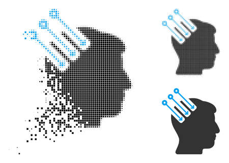 Neuro interface icon in dispersed, pixelated halftone and original versions. Particles are grouped into vector disappearing neuro interface pictogram. Disappearing effect involves square particles. Illustration