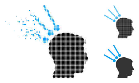 Head test connectors icon in fragmented, dotted halftone and entire variants. Particles are arranged into vector dissolving head test connectors symbol.