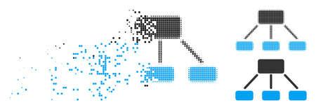 Icône de hiérarchie en demi-teintes dispersées, en pointillés et variantes solides. Les particules sont combinées dans une icône de hiérarchie de disparition vectorielle. L'effet de disparition implique des points rectangulaires.