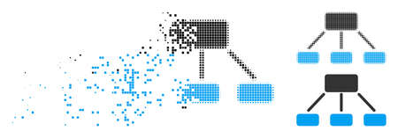 Hierarchy icon in dispersed, dotted halftone and solid variants. Particles are combined into vector disappearing hierarchy icon. Disappearing effect involves rectangular dots. Illustration