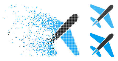 Jet airplane icon in dispersed, pixelated halftone and undamaged versions. Points are organized into vector disappearing jet airplane form. Disappearing effect involves square particles. Ilustrace