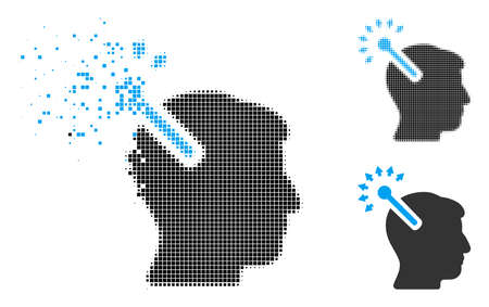 Optical neural interface icon in dispersed, pixelated halftone and solid versions. Cells are combined into vector dispersed optical neural interface icon. Disappearing effect uses rectangle particles.