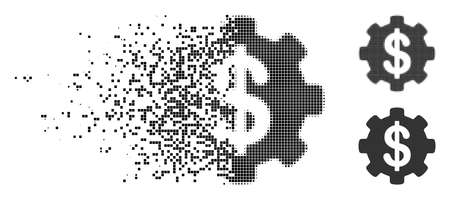Payment options gear icon in fractured, pixelated halftone and undamaged versions. Particles are arranged into vector disappearing payment options gear pictogram. Illustration