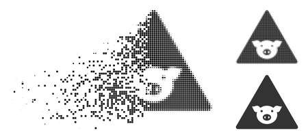 Pig error icon in fragmented, dotted halftone and entire variants. Cells are composed into vector disappearing pig error symbol. Disappearing effect involves rectangular particles.